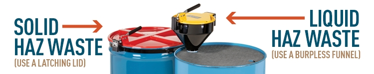 Red latching drum lid on top of a blue 55 gallon drum and a burpless funnel on top of a blue 55 gallon drum