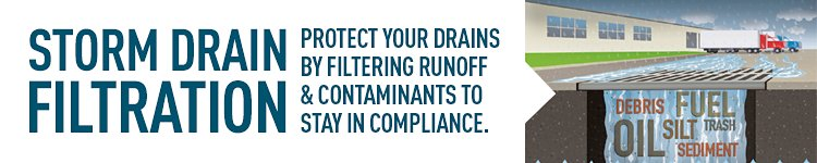 Stormwater filtration: catch contaminants before they reach waterways to stay in compliance.