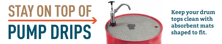 Keep drum tops clean from pump drips with absorbent mats shaped to fit.