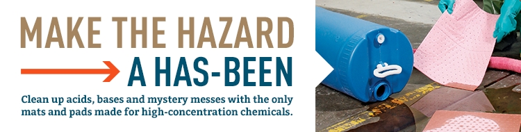 Clean up acids, bases and mystery messes with the only hazmats and pads made for high-concentration chemicals.