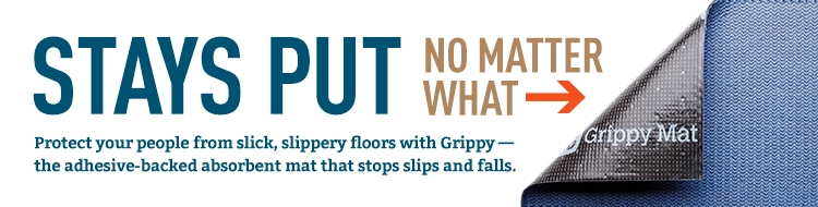 PIG Grippy Mat is adhesive-backed so it stays put no matter what to absorb leaks and spills while you work.
