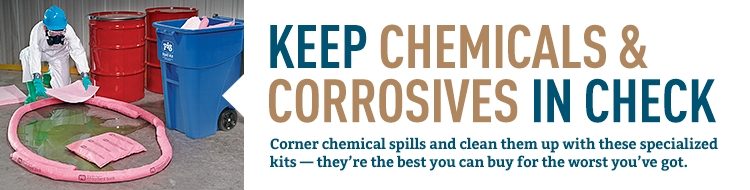 PIG Chemical Spill Kits help you clean up chemical and corrosives spills.
