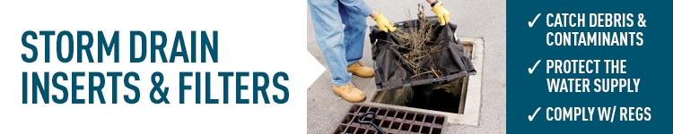 Storm drain inserts and filters control runoff, protect the water supply and comply with EPA regs.