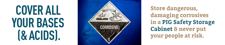 Corrosives label on a blue chemical storage cabinet