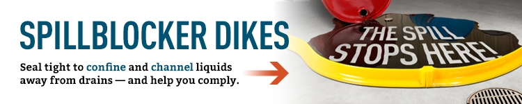 SpillBlocker dikes seal tight to confine and channel liquids away from drains and help you comply.