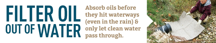 Filter oil out of water. Absorb oils and only let clean water through.