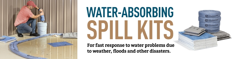 Water absorbing spill kits for fast response to water problems due to weather, floods and other disasters