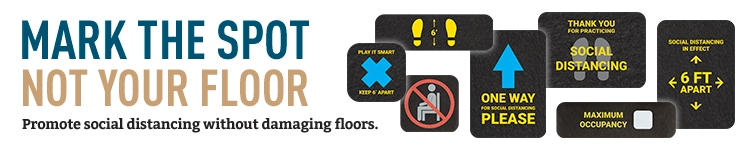 Promote social distancing without damaging floors with signs & markers.