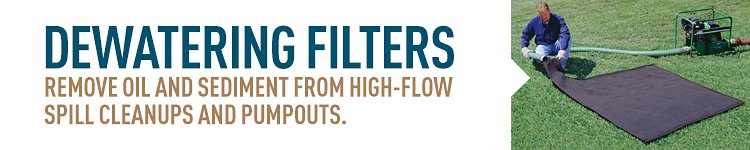 Dewatering filters remove oil and sediment from high-flow spill cleanups and pumpouts.
