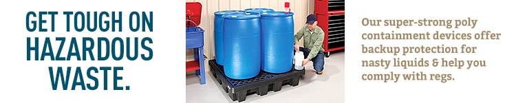 Black plastic containment pallet holding 4 large blue poly drums