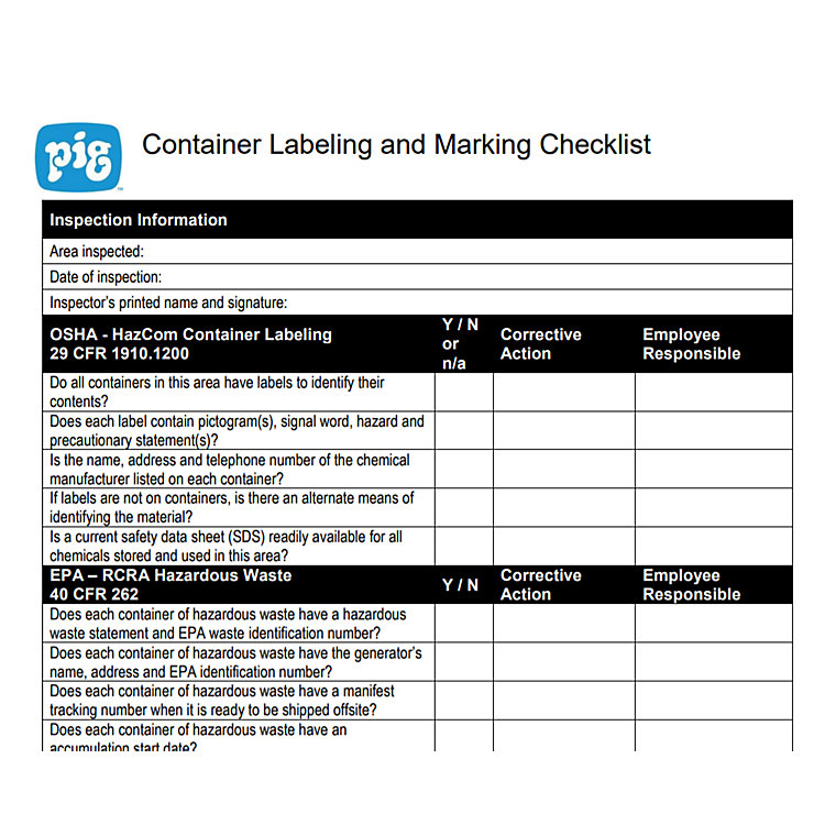 Container Labeling and Marking Checklist