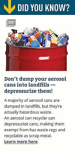 Don't dump your aerosol cans into landfills - depressurize them!