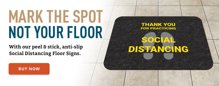 Peel and stick anti slip social distancing floor signs Buy Now
