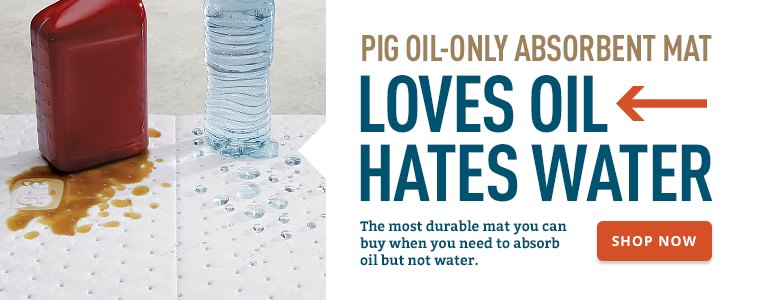 PIG Oil-Only Absorbent Mat - Loves Oil. Hates Water.