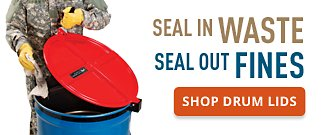 Seal in Waste Seal Out Fines Shop Drum Lids