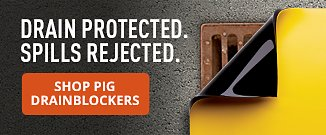 Drain protected. Spills rejected.  Shop Pig Drainblockers.