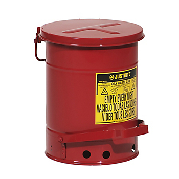 Red Steel Oily Waste Can