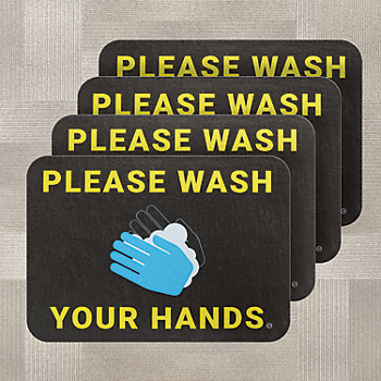 PIG® Wash Your Hands Floor Sign for Carpet - Box of 4