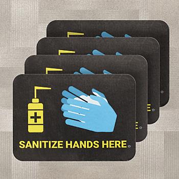 PIG® Sanitize Hands Here Floor Sign for Carpet - Box of 4