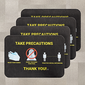 PIG® Health & Social Distancing Floor Sign for Carpet - Box of 4