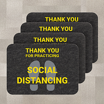 PIG® Social Distancing Floor Sign for Carpet - Box of 4