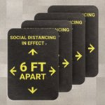 PIG® Social Distancing Six Feet Apart Floor Sign for Carpet - Box of 4