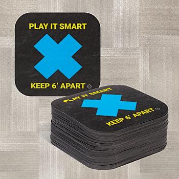 PIG® Social Distancing Floor Sign & Marker for Carpet - Box of 50