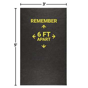 PIG® Grippy® Adhesive-Backed Social Distancing Reminder Floor Mat