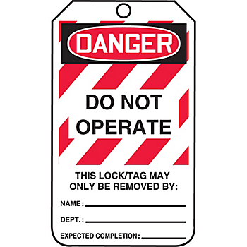 Danger Do Not Operate Lockout Tags - Small Print