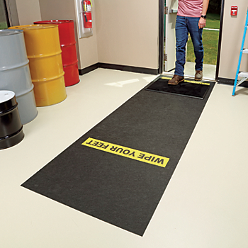 Shoe Disinfectant Mat with Adhesive-Backed Printed Message Runner