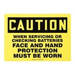 Caution Face and Hand Protection Must Be Worn Sign