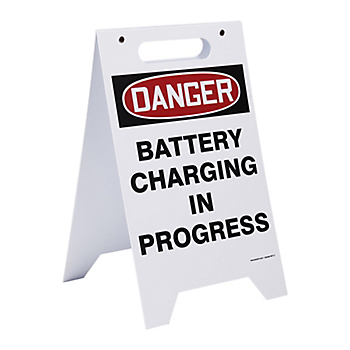 Two-Sided Battery Charging Floor Sign
