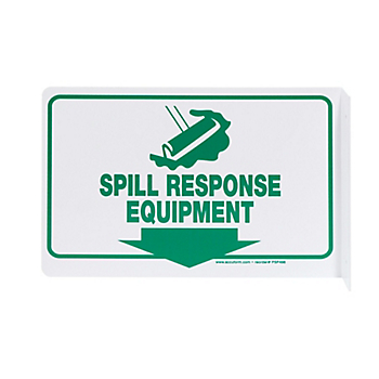 Spill Response Equipment 90° Projection Sign