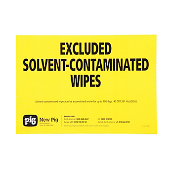 Solvent-Contaminated Wipes Label