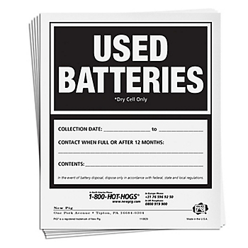 Used Batteries Label