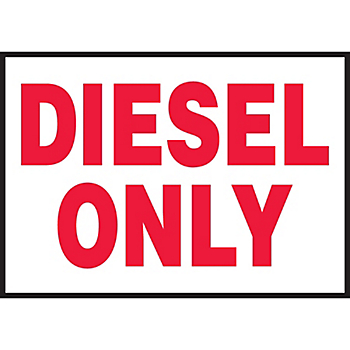 Diesel Only Hazard Warning Label