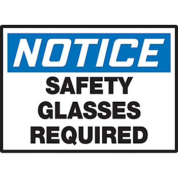 Notice Safety Glasses Required Hazard Warning Label