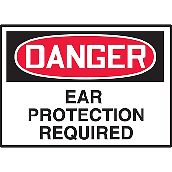 Danger Ear Protection Required Hazard Warning Label