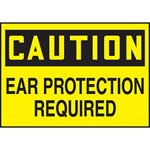 Caution Ear Protection Required Hazard Warning Label