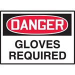 Danger Gloves Required Hazard Warning Label