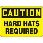 Caution Hard Hats Required Hazard Warning Label