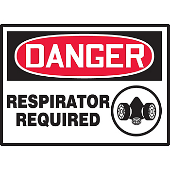 Danger Respirator Required Hazard Warning Label