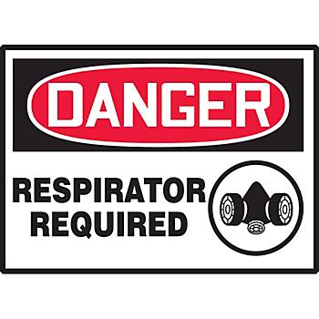 Danger Respirator Required Hazard Warning Label