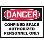 Danger Confined Space Authorized Personnel Only Hazard Warning Label