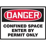 Danger Confined Space Enter By Permit Only Hazard Warning Label
