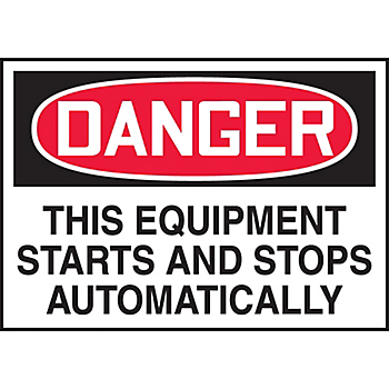 Danger This Equipment Starts and Stops Automatically Hazard Warning Label