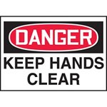 Danger Keep Hands Hazard Warning Label