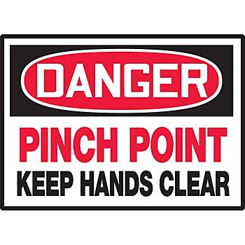 Danger Pinch Point Keep Hands Clear Hazard Warning Label