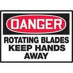 Danger Rotating Blades Keep Hands Away Hazard Warning Label