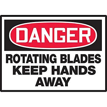 Danger Rotating Blades Keep Hands Away Hazard Warning Label